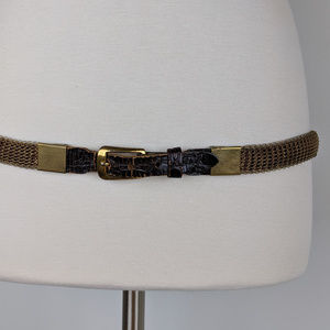 Vintage Gold Mesh Belt with Leather Buckle